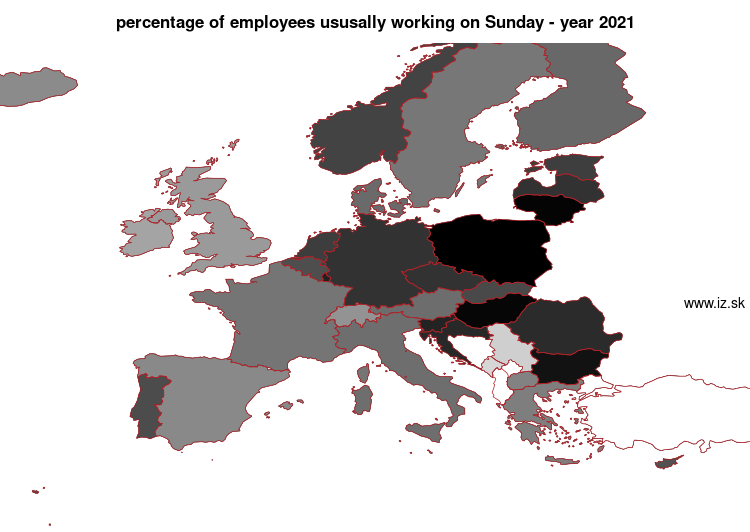 map percentage of employees ususally working on Sunday in nuts 0