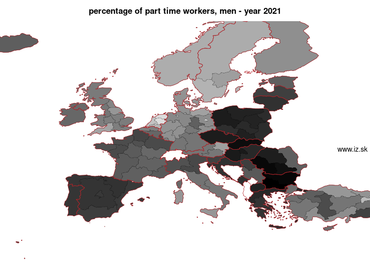 map percentage of part time workers, men in nuts 1