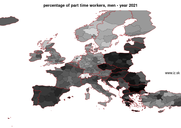 map percentage of part time workers, men in nuts 2