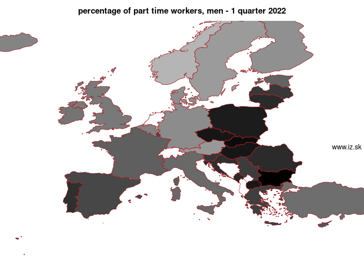 mapa vyvoja Percentage of part time workers, men v nuts 0