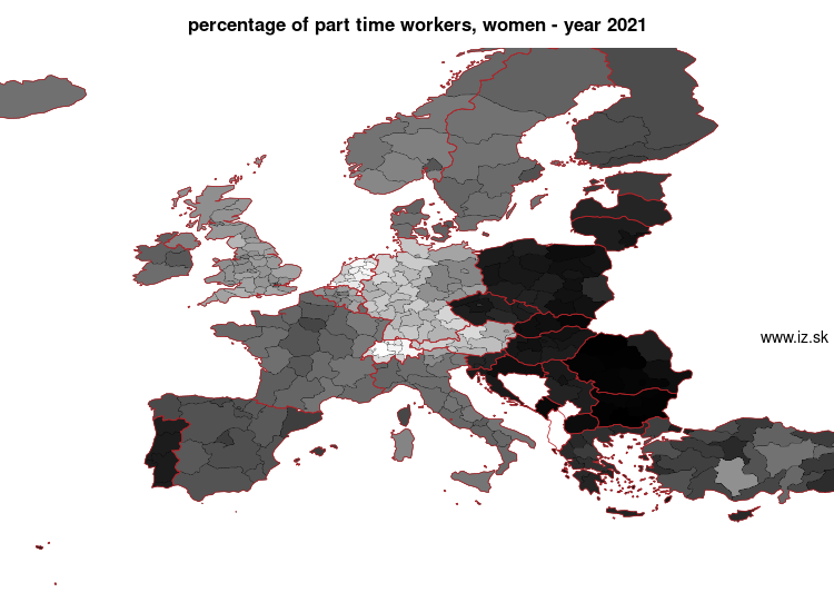 map percentage of part time workers, women in nuts 2