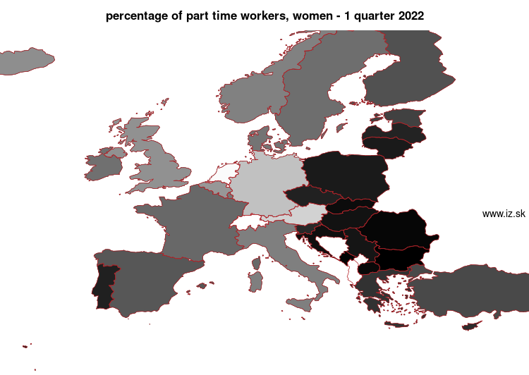 map percentage of part time workers, women in nuts 0