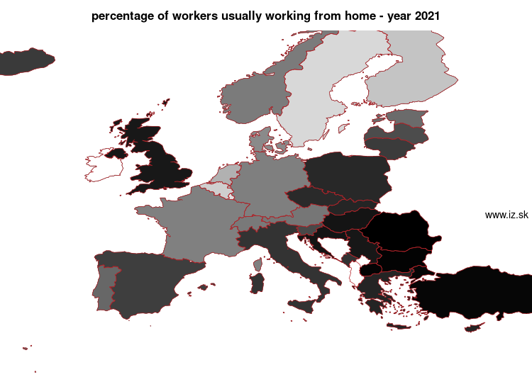 map percentage of workers usually working from home in nuts 0