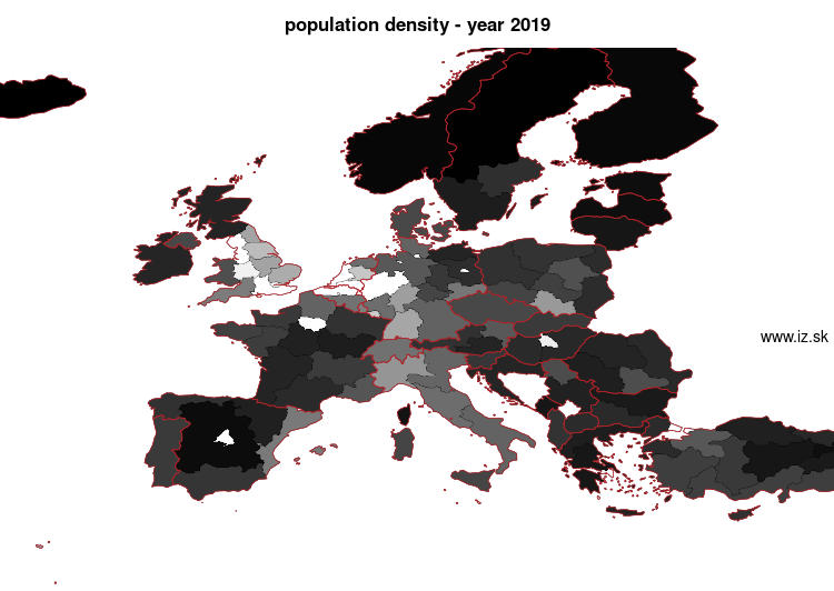 map population density in nuts 1
