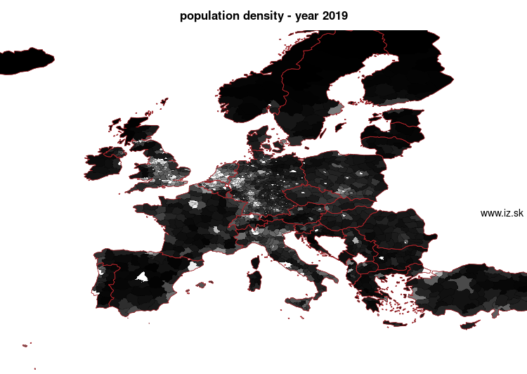 map population density in nuts 3