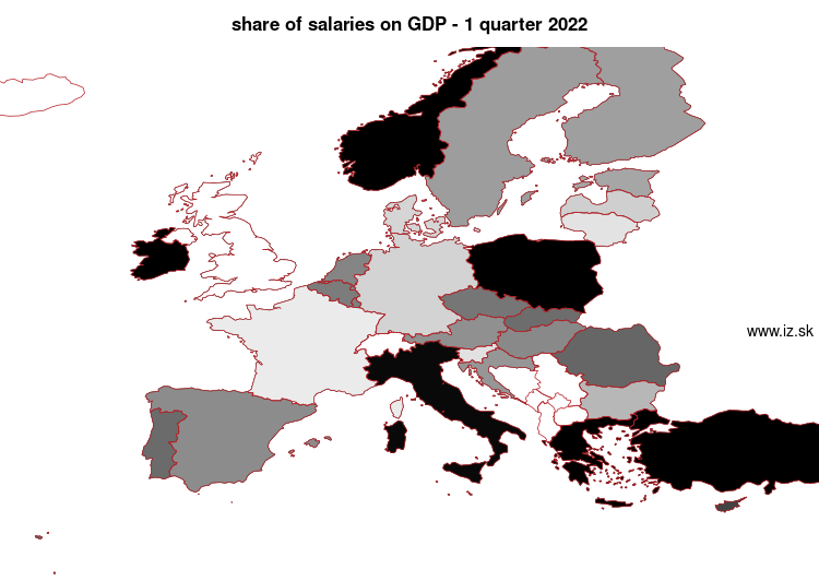 map share of salaries on GDP in nuts 0