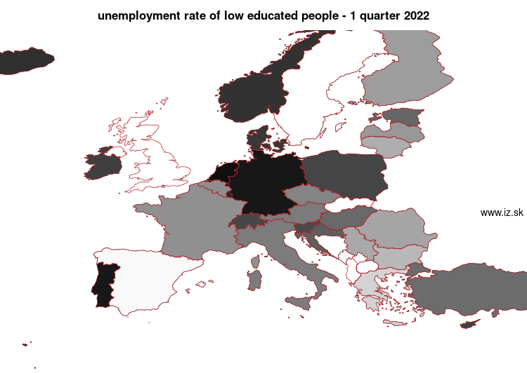 mapa vyvoja Unemployment rate of low educated people v nuts 0