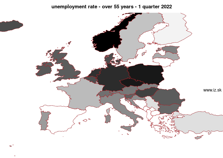 map unemployment rate – over 55 years in nuts 0
