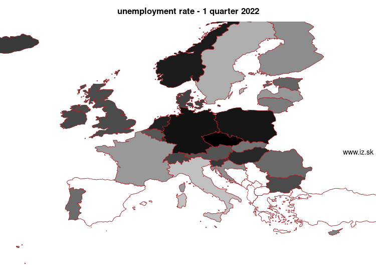 mapa vyvoja Unemployment rate v nuts 0