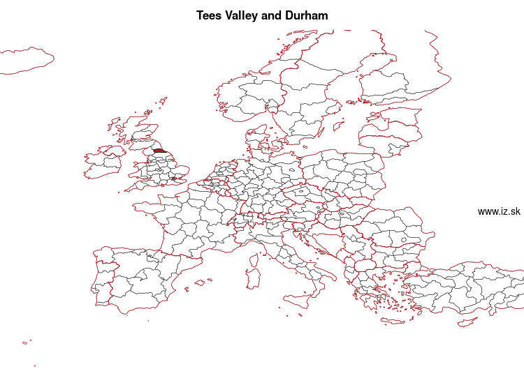 mapka Tees Valley and Durham UKC1