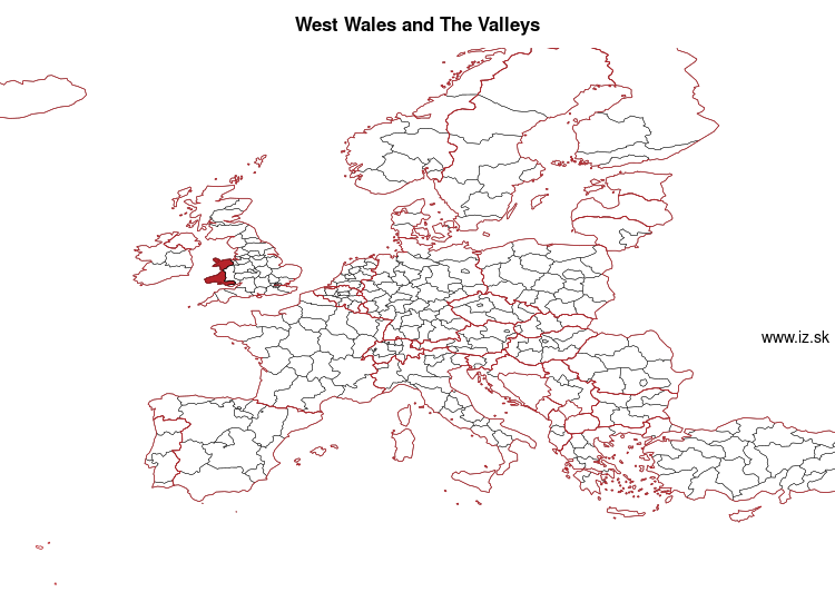 mapka West Wales and The Valleys UKL1