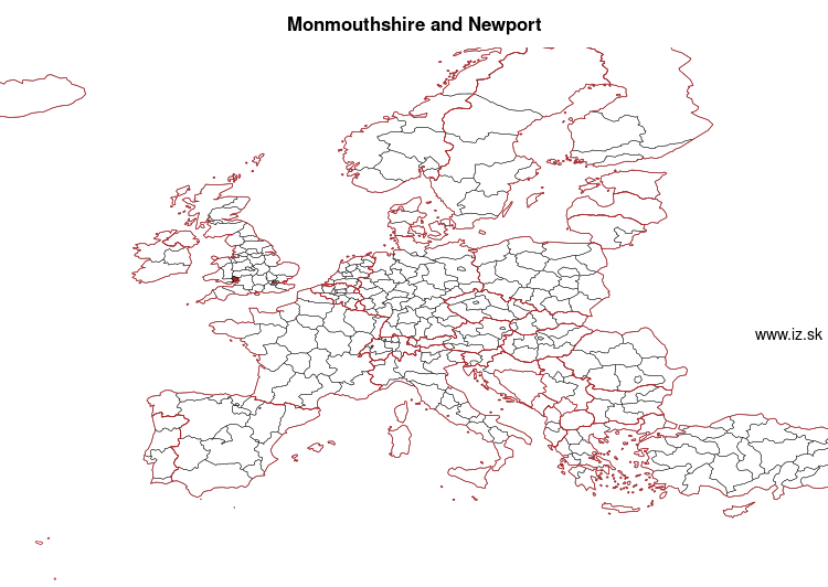 mapka Monmouthshire and Newport UKL21