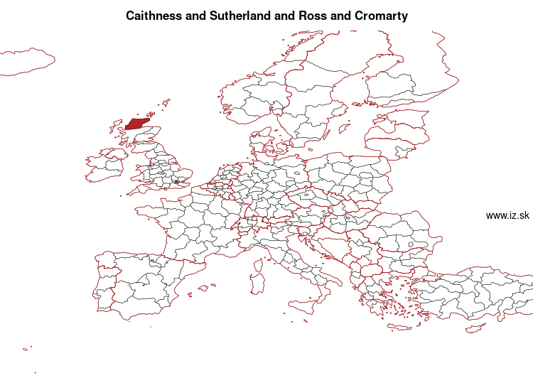 mapka Caithness & Sutherland and Ross & Cromarty UKM61
